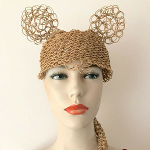 Handmade Mouse Hat Paper Straw Party Accessory